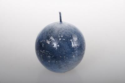 Bougie marbrée bleue – D 6 cm