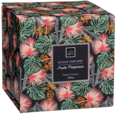Bougie parfumée zestes de fruits tropicaux dans pot en verre 390G