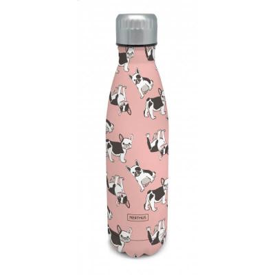 Bouteille isotherme CHIENS à double paroi, 500 ml, Gourde en acier inoxydable - Garde Froid 8h ou Chaud 12h - Sans BPA