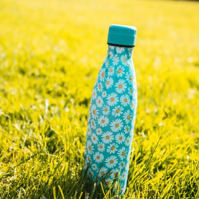 Bouteille isotherme FLEURS JAUNES à double paroi, 500 ml, Gourde en acier inoxydable - Garde Froid 8h ou Chaud 12h - Sans BPA