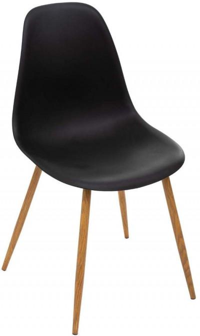 Chaise Noire - Pieds en métal façon Chêne