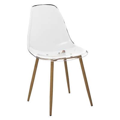 Chaise Transparente - Pieds en métal façon Chêne