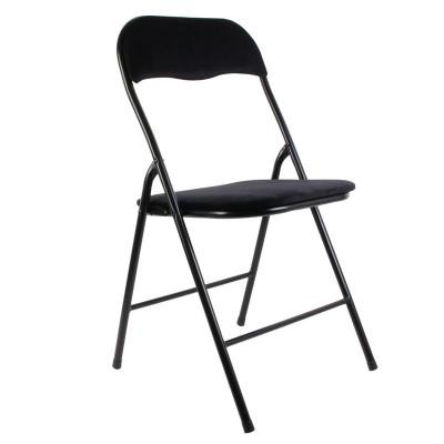 Chaise pliante, revêtement en velours noir