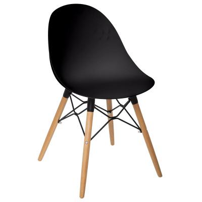 Chaise scandinave Ezra noire, pieds en hêtre