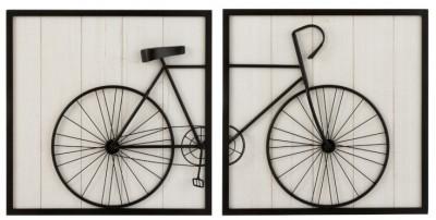 Plaque Vélo en 2 parties,  Bois  et Métal, 60 x 120 cm