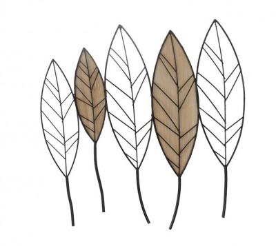 Décoration murale feuilles en métal et bois