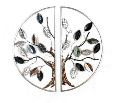 Diptyque arbre argenté dans cercle  –  Décoration murale en métal
