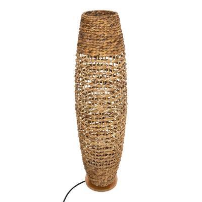 Lampe à poser métal et papier tressé, Beige, H 118 cm
