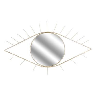 Miroir en forme d'œil doré 35x55cm