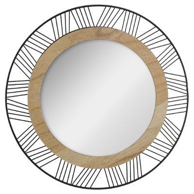 Miroir rond Métal-Bois D 45 cm