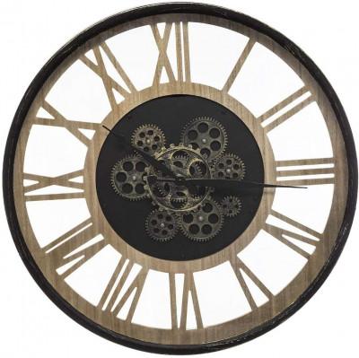Pendule en Métal et Bois avec mécanisme Apparent D 57 cm