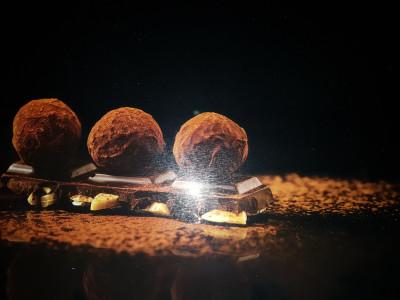 Planche à découper en verre trempé 4mm, 40x30 cm, Décor Truffes chocolat
