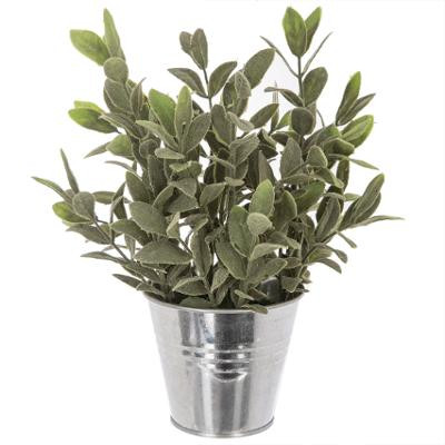 Plante artificielle, pot Zinc Ø10 H25 cm