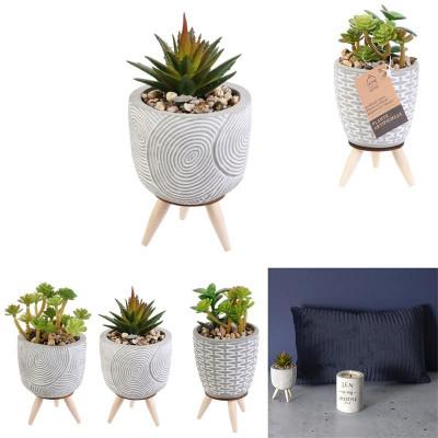 Plante artificielle, pot ciment sur pied, Ø7,5 H16 cm