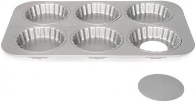 Plaque 6 tartelettes 10cm Silver-Top, Fond amovible, 36x24x2.5cm, Patisse