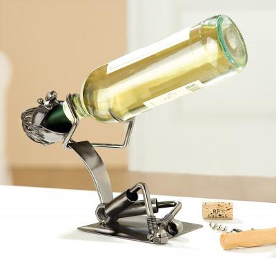 Porte-bouteille ivrogne - Sculpture en métal - Idée cadeau
