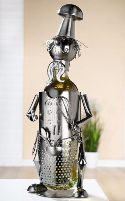 Porte-bouteille vin décoratif – Chef cuisinier - Sculpture en métal - Idée cadeau