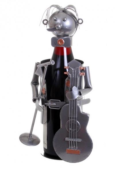 Porte-bouteille vin décoratif – Guitariste - Sculpture en métal - Idée cadeau