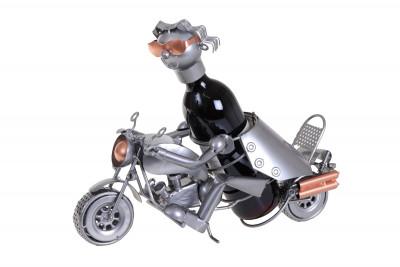 Porte-bouteille vin décoratif – Motard sur route- Sculpture en métal - Idée cadeau