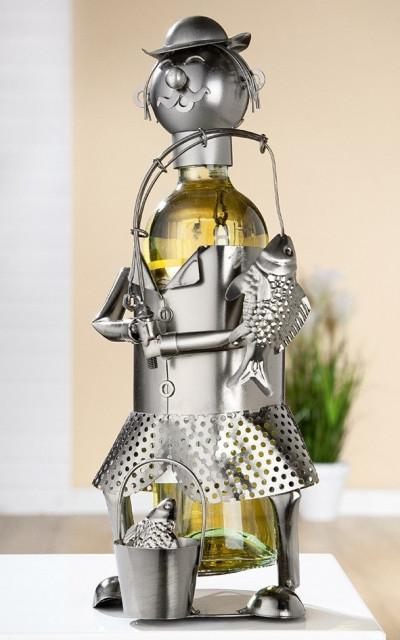 Porte-bouteille vin décoratif – Pêcheur- Sculpture en métal - Idée cadeau