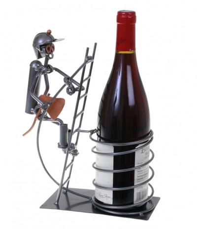 Porte-bouteille vin décoratif – Pompier sur échelle - Sculpture en métal - Idée cadeau