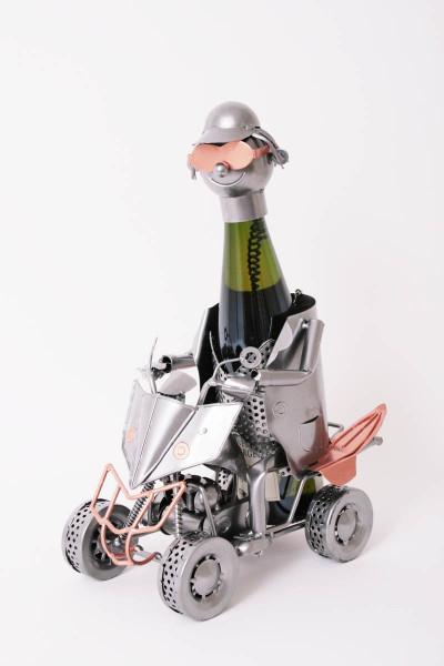 Porte-bouteille vin décoratif – Quad-  Sculpture en métal - Idée cadeau