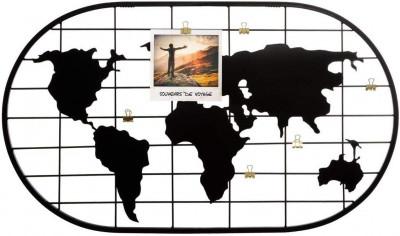 Porte photos Monde en métal noir 60x35 cm
