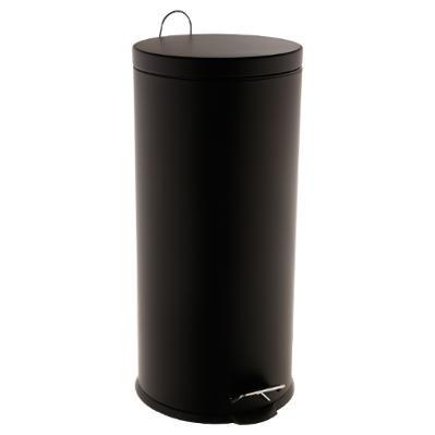 Poubelle ronde inox noir à pédale 30L