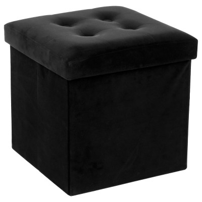 Pouf en Velours Noir - Coffre de rangement pliable