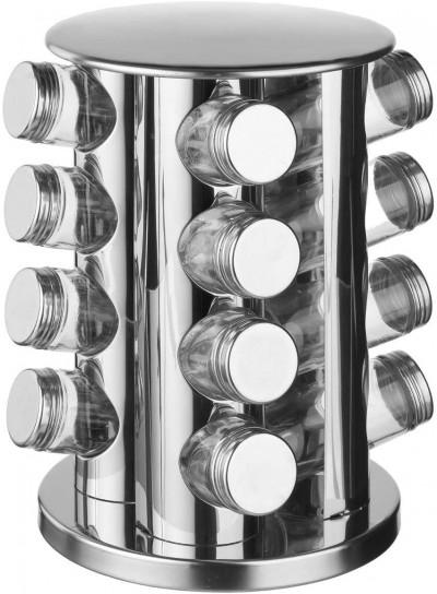 Présentoir à épices rotatif en inox, 16 pots en verre