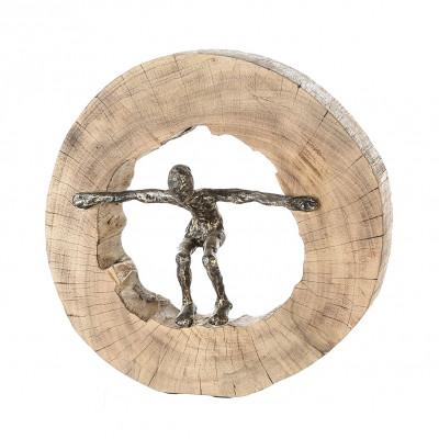 Sculpture Jumping bois de manguier et aluminium