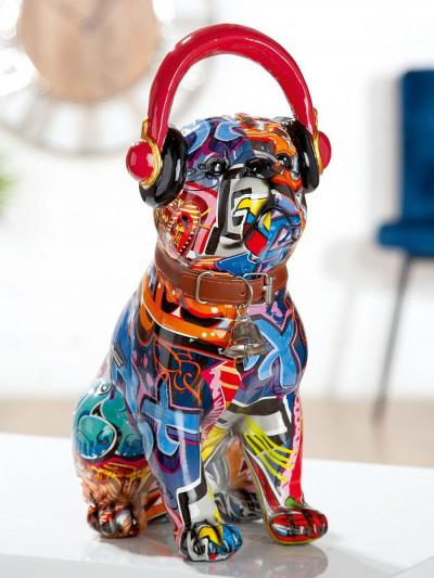 """Statue Bulldog avec casque """"Pop Art"""""""