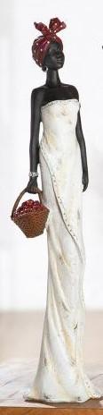 Statue africaine, Tortuga, Panier, H 44 cm
