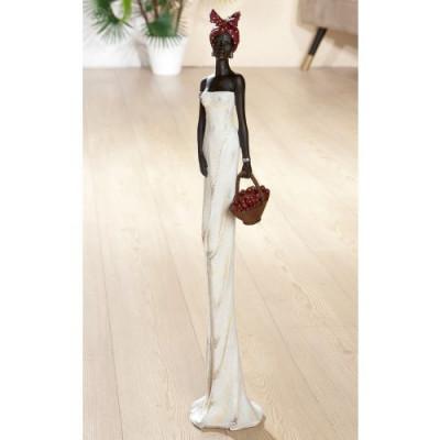 Statue africaine, Tortuga, Panier, H 82 cm