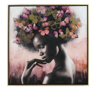 Tableau Femme Africaine - Papillons 80 x 80