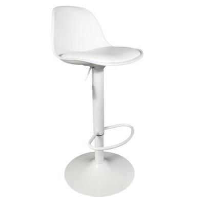 Tabouret de bar, assise blanche avec coussin, hauteur réglable