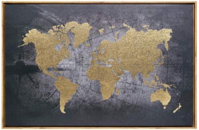Toile imprimée avec cadre « Carte du monde » 58 x 88 cm