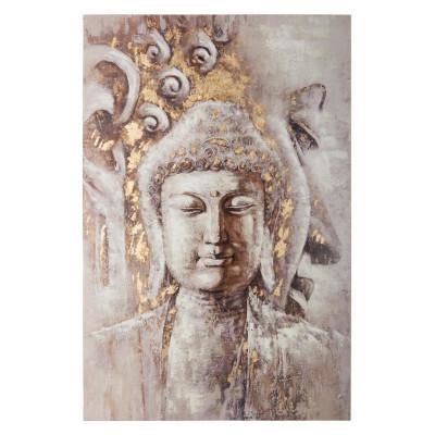 Toile peinte argentée Bouddha 60x90